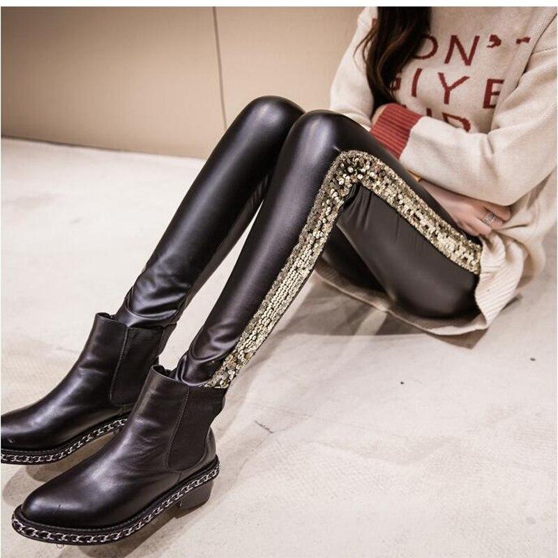 Shikoroleva Ladies   Leggings   Side Glitter Sequins PU Leather Pants Female High Waist Stretch Jeggings Plus 8XL 7XL S Gold Silver
