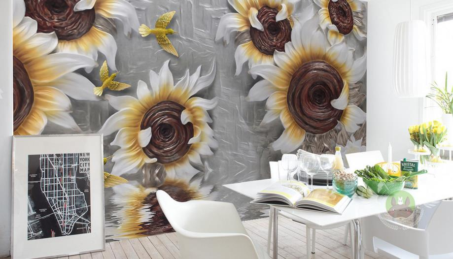 3D Wallpaper For Walls Custom Wall Mural Non-woven Wall Paper Relief Sunflower flower Living Room Room  Backdrop Home Decor