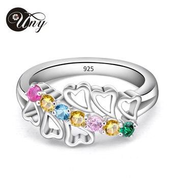 48e3d0ba42db Universidad anillos anillo de Plata de Ley 925 de las madres anillo  personalizada Birthstone grabado romántico par de promesa regalos anillos