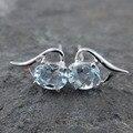 Venta caliente natural blue topaz 925 pendientes de plata esterlina diseño simple plata topacio pendientes para mujer de la boda