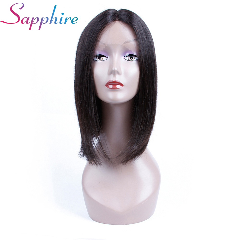 SAPPHIRE Bob Wig Brazilian Straight Short Lace Front Human Hair Wigs Natural Black Pre Plucked With Baby Hair Remy Hair