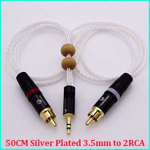 2m 8cores Litz braid 1/8 3.5mm TO 2 RCA Male 5N PCOCC Hybrid Silver plated cable HIFI Audio Adapter Extended Cable
