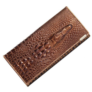 New Fashion Design Handy Bag Wallet Long Crocodile Real Leather Purse Men Women Clutch Hot Casual Mobile Cell iPhone Case Holder