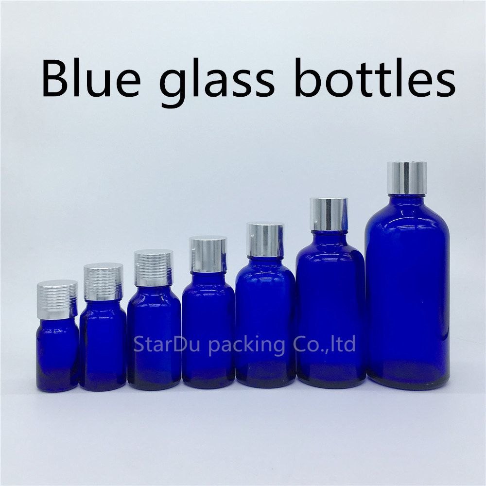 5ml 10ml 15ml 20ml 30ML 50ml 100ml blue Glass Bottle Essential Oil blue Bottle with silvery