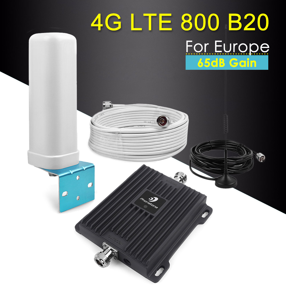 4G LTE 800 Signal Repeater Band 20 Fast 4G Network 800mhz Mobile Signal Booster 65dB Gain 4G LTE Amplifier Cellular Repeater Kit