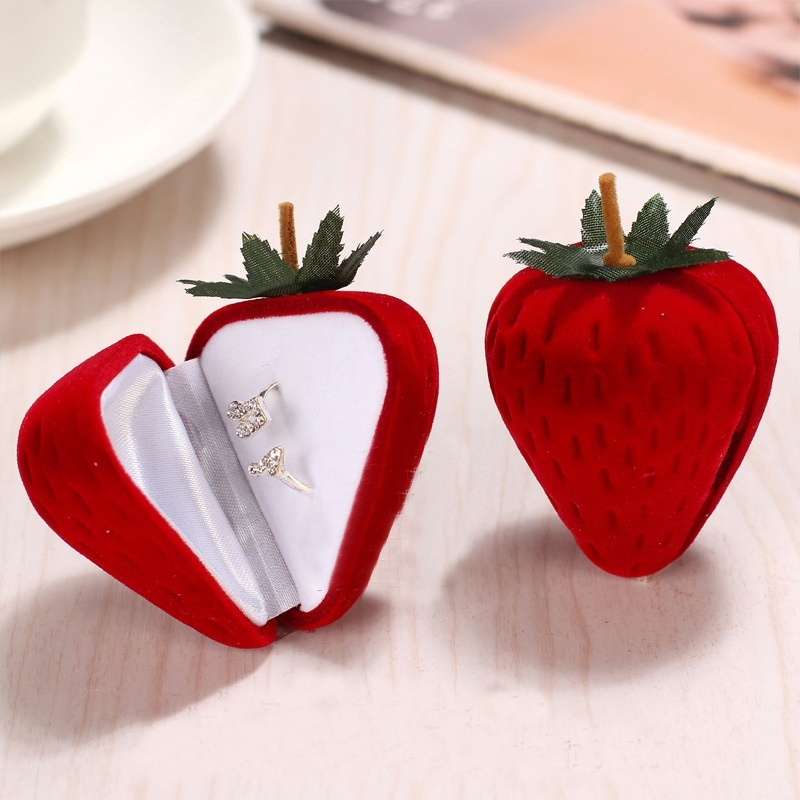 New 1 PCS Red Strawberry Box Form Velvet Ring Storage Case Jewelry Box Ring Protector Flocking Gift Box Hot Selling