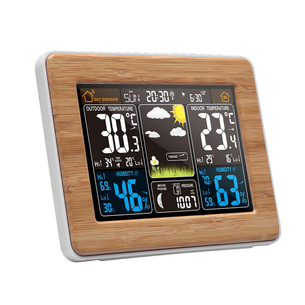 все цены на NEW Weather Station Multi-function Digital Clock Temperature Humidity thermometer forecast Desk Table LCD Alarm Clock онлайн