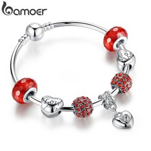 Silver Charm Bracelet & Bangle with Heart Pendant & Red Crystal Ball LOVE Charm Friendship Bracelet PA3068(China)