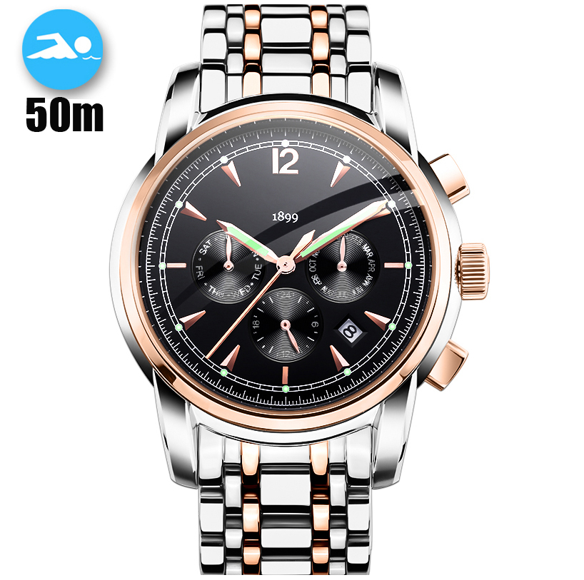 50M Waterproof Mechanical Watches Mens Full Steel Skeleton Automatic Watch Men Diver Flying Tourbillon relogio masculino
