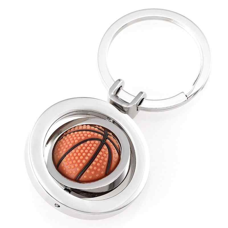 Basketball Accessories Rubber Metal Rotary Basketball Keychain Small Pendant Accessories Derivative Products