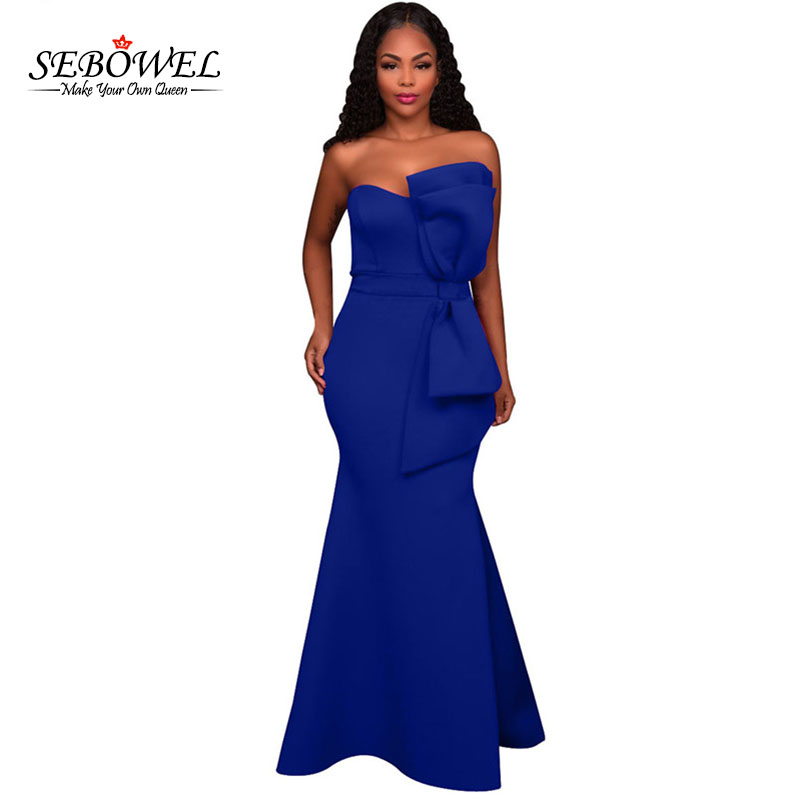 7b6930fd595e SEBOWEL New Women Off Shoulder Formal Sexy Party Gowns Dress Oversized Bow  Applique Mermaid Dress Vestidos Longo de Festa-in Dresses from Women's  Clothing ...