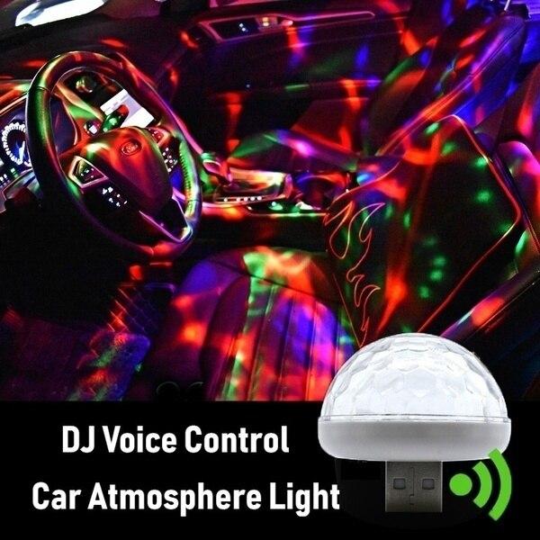 Coche Led Lámpara Decorativa Mini Atmósfera Luz Auto Interior Usb Club Disco Mágico Escenario Efecto S Montaje