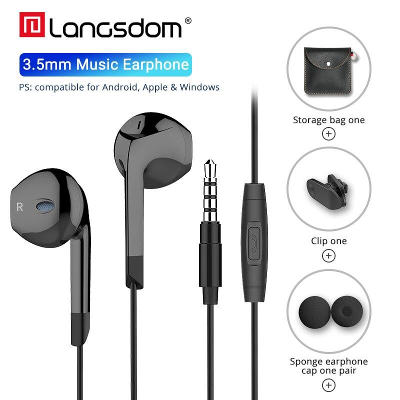 Langsdom E6 Metade do Fone de ouvido para iPhone fone de ouvido Estéreo de Alta Fidelidade Fones De Ouvido Fone de Ouvido com Microfone para Xiaomi Samsung fone de ouvido Fones de Ouvido