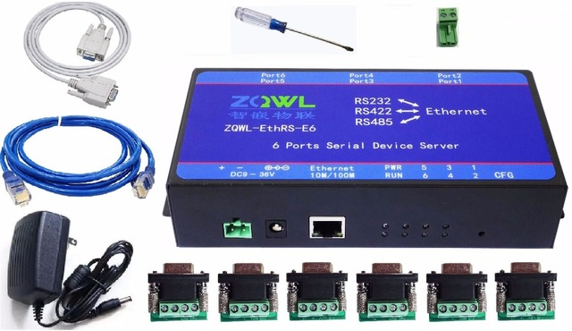 Six serial server RS232/RS485/RS422 transfer network /Modbus TCP to RTU