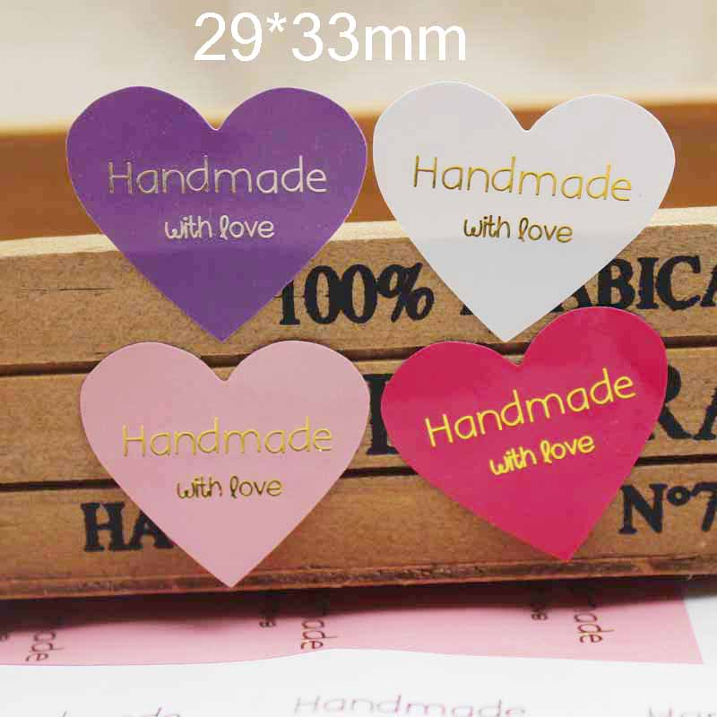 100PCS Mulit Color Heart Shape Handmade With Love Label Stickers Gold Foil Print Gift Labels Tag 29*33cm