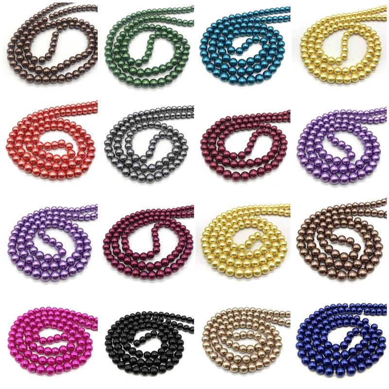 Wholesale 6/8/10mm Color Round Glass Beads, Bracelet Necklace Charm Jewelry DIY Production