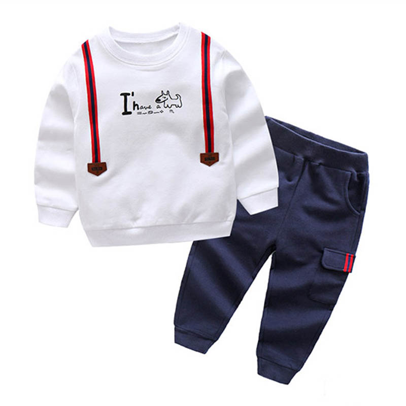 Kids Baby Boys Causal Clothing Set Letter Long Sleeve Autumn Spring Childrens Sports Suit 2 3 4 5 6 7 Years Children Clothes
