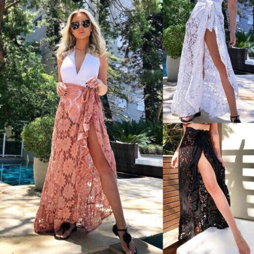 dd5318ae2da64 Summer Women Lace Bikini Cover Up Swimwear Sheer Skirts Beach Maxi Wrap  Skirt Sarong Pareo Long Bandage Skirts New-in Skirts from Women s Clothing  ...