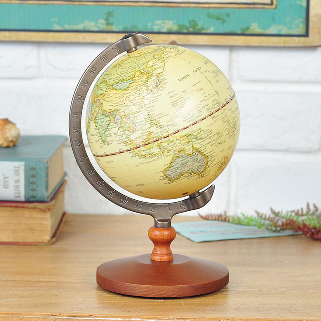 360 Degree World Map.Wooden 360 Degree Rotating Globes Retro Home Decoration World Map
