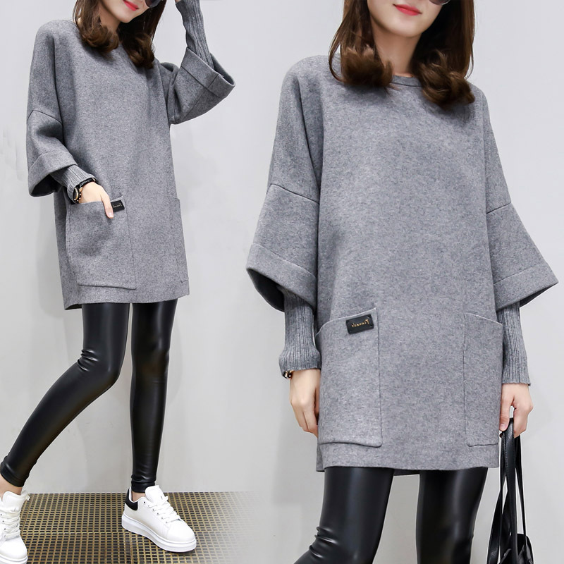 Pink Gray Autumn Winter Large Size Women Sweatshirt Loose Panel Long-Sleeve Feamle Jacket Long Solid Color Top O-Neck Pullovers