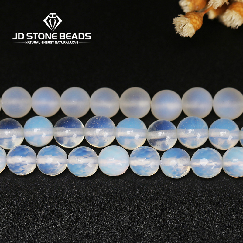 Factory Price Natural Matte White Opal Beads 4-14mm Personalized Fashion Hand-made Ornaments Faceted Stones For Jewelry Making