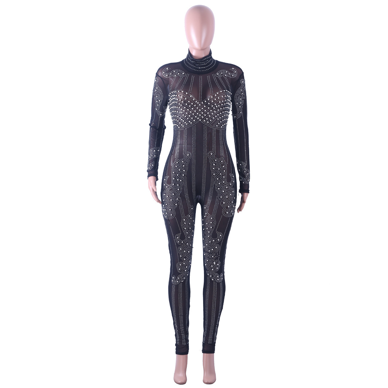 8f363b84e7c 2019 Joyfunear 2019 Stretchy High Neck Long Sleeve Skinny Jumpsuit ...