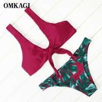 Marka OMKAGI Sexy Push Up Bikini zestaw połowie talii strój kąpielowy stroje kąpielowe kobiety 2019 strój kąpielowy lato stroje kąpielowe strój kąpielowy