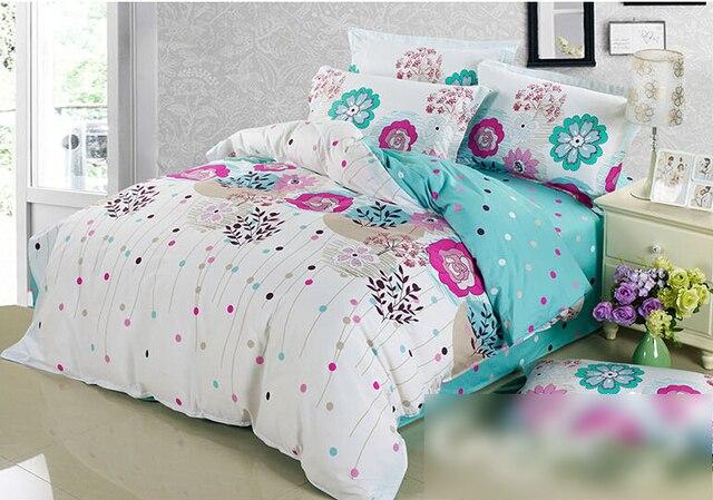 02f3af9d3c 100% cotone trapunta doona copripiumino lenzuola floreali blu rosa poka  dots fiore delle ragazze biancheria