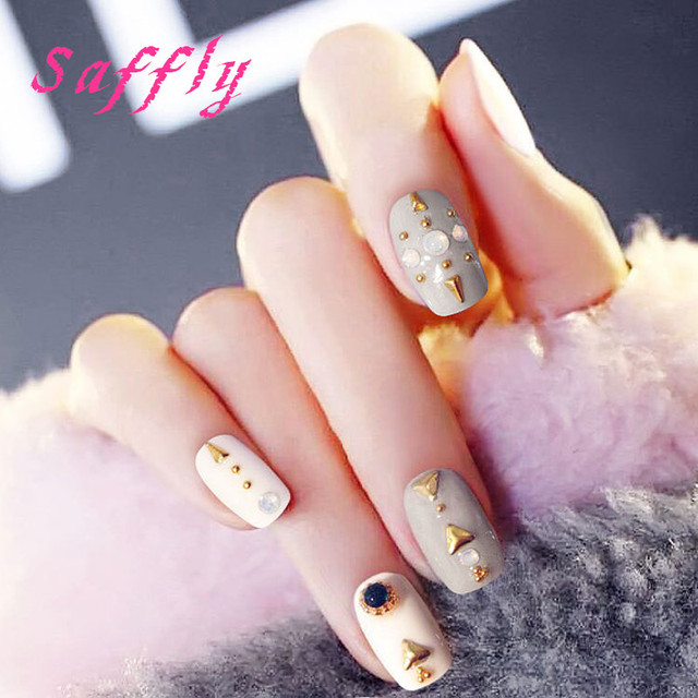 High quality 24Pcs fashion gray Fake Nail with rivet gel false nail ...