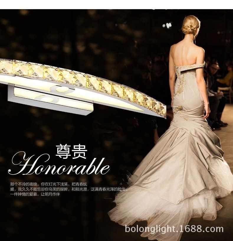 Роскошная фара для туалетного зеркала, светодиодная настенная лампа с кристаллами, водонепроницаемый противотуманный фонарь, зеркало для душевой комнаты, фара