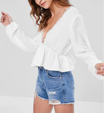 White Womens Shirt Lace Top Casual Tops V Neck Blouse Sexy Beach Lantern Sleeve Crop Women