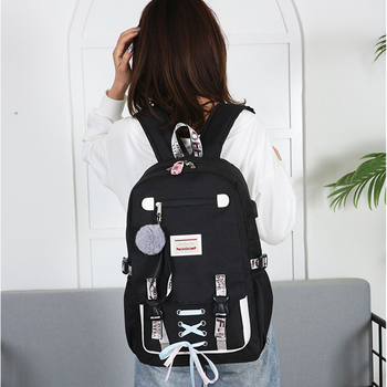 Anti Theft Large School Backpack Bags With Lock For Teenage Girls USB Women Book  Big High Youth Leisure College 2