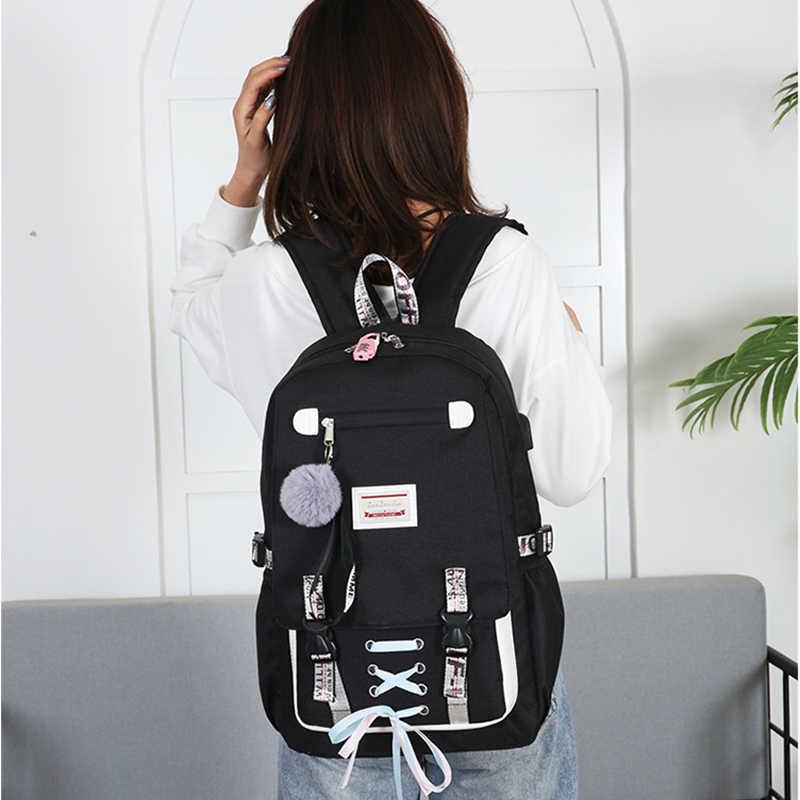 Большие Школьные сумки для девочек-подростков с лентой, USB, школьный замок рюкзака, нейлон, 2019, большой школьный рюкзак для подростков, женский рюкзак
