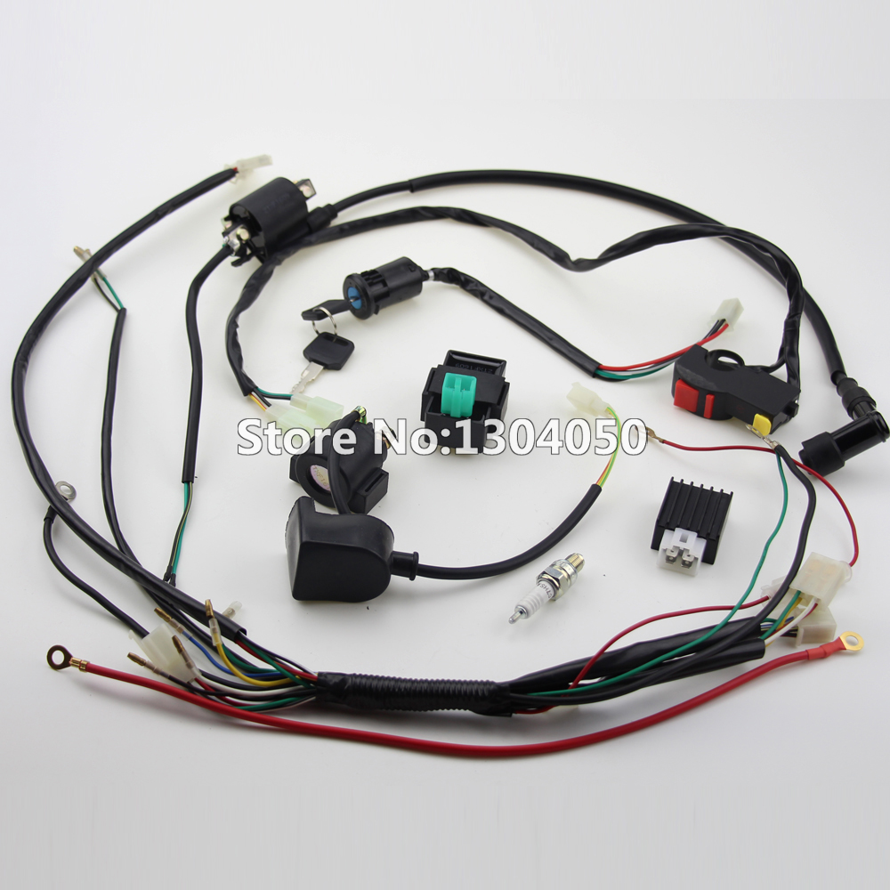 Online Shop Full Kick Electric Start Engine Wiring Harness Loom Coil C7HSA  SPARK PLUG 50 70 90 110 125cc Quad Pit Dirt Bike ATV Dune Buggy |  Aliexpress ...