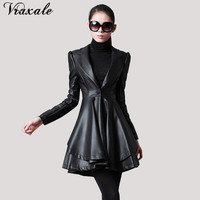 Fur Collar Leather Clothing Slim Medium Long Women S Belt Leather Trench Outerwear Overcoat Female
