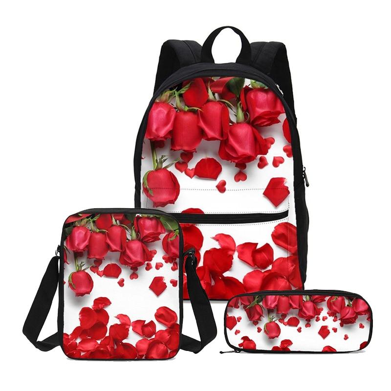 2019 Canvas School Backpacks 3D Rose Backpack Children Satchel Casual Book Bag School Bag Set For