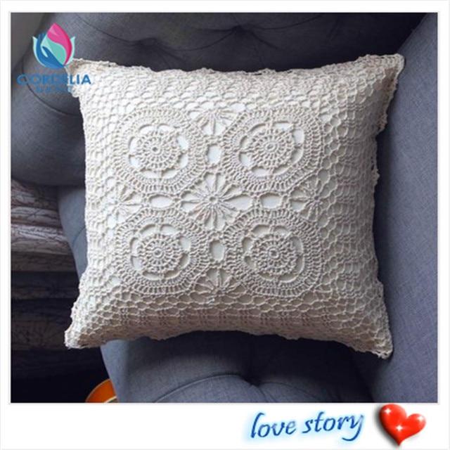 Nueva moda estilo koean 45x45 cm algodón crochet vintage funda de ...
