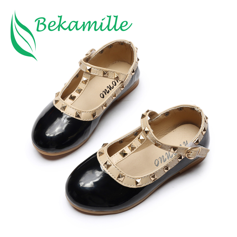 Bekamille Children Princess Flat Sneakers Autumn Girls Baby Rivets Single Shoes Kids Leather Shoes Girls Dance Shoes Size 21-36