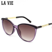 LA VIE 2016 Fashion Plastic Frame Sunglasses Women Brand New Designer Cat Eye Glasses Women Decoration Classic Sunglasses #15125