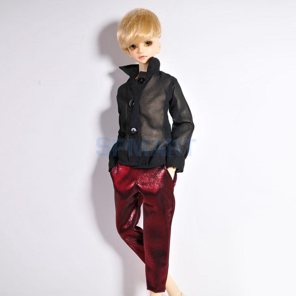 Sexy Black Chiffon Shirt + Wine Red Pants Outfit for 1/4 BJD SD DOA LUTS Dollfie Clothing ACCS handsome grey woolen coat belt for bjd 1 3 sd10 sd13 sd17 uncle ssdf sd luts dod dz as doll clothes cmb107
