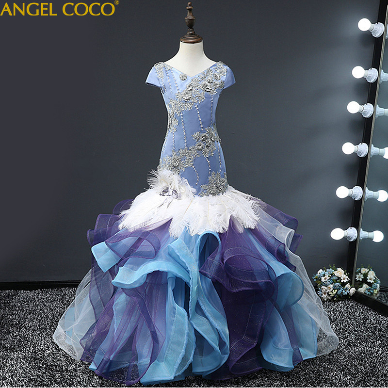 Girl Evening Dress Model Fashion Beauty Contest Catwalk Dress Tail Tutu Children'S Stage Feather Carnival Costume For Kids  2018