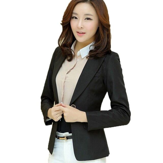 Spring Autumn Women Blazers and Jackets 2017 Fashion Single Button Office Blazer Femenino Branco Black/Pink/Khaki Blazer Femme