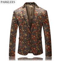 Chaqueta de terciopelo con un solo botón de Paisley con estampado de lujo para hombre