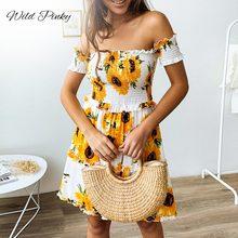 WildPinky 2019 Women Summer Dress Boho Style Floral Print Off Shoulder Ruffles Beach Loose Mini Party Vestidos