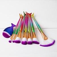 JIEFUXIN 8Pcs Mermaid Shaped Makeup Brush Set Big Fish Tail Foundation Powder Eyeshadow Brushes Contour Blending