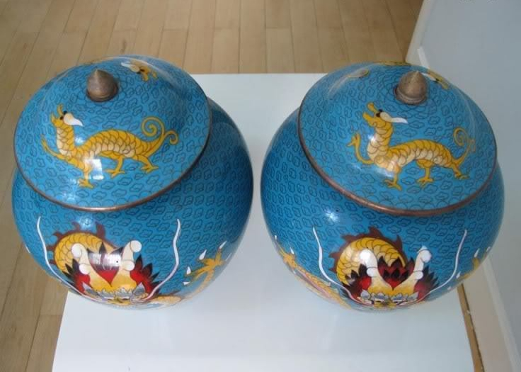 China Old Copper Handwork Cloisonne Enamel Two Dragon Jar Crock Pot Vase Pair