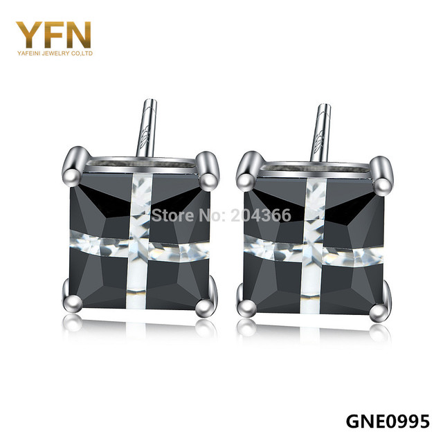 YFN New 2015 Fashion Black CZ Stud Earrings 5x5mm Genuine 925 Sterling Silver Square Earrings Gifts For Women