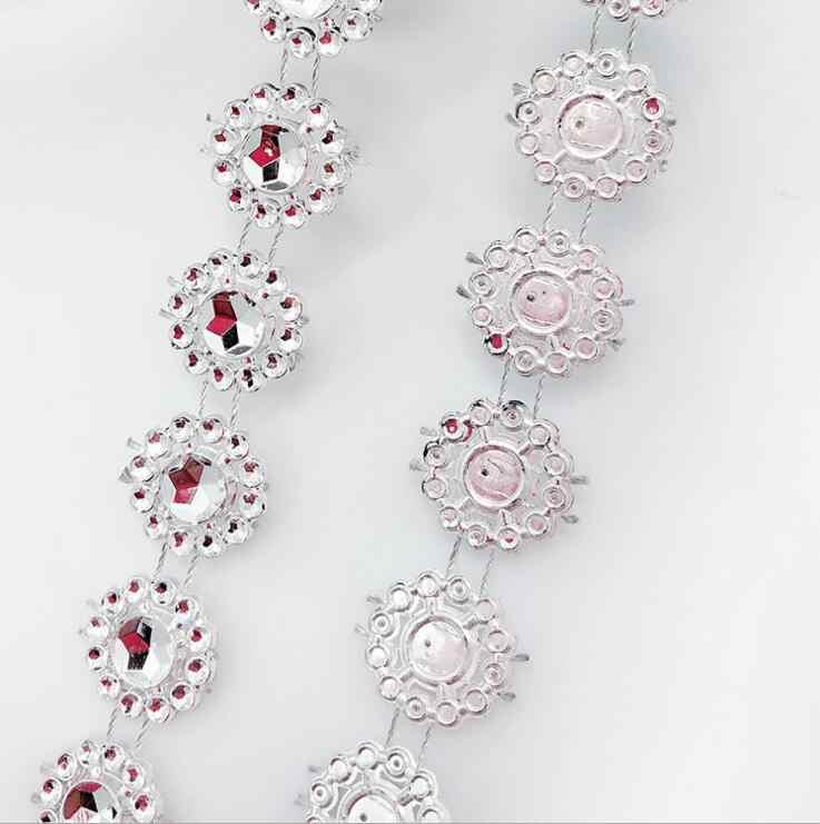 c7bb49cd63 2Yard Single Row Silver Gold Dimond Mesh Crystal Sewing Rhinestone Ribbon  Trim for Wedding Party Decorations DIY Gift Wrap