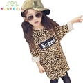 Baby Girls Long t-shirt Summer Leopard print Modal long sleeve kid t-shirts roupas infantis menina Fashionable lengthen top L251