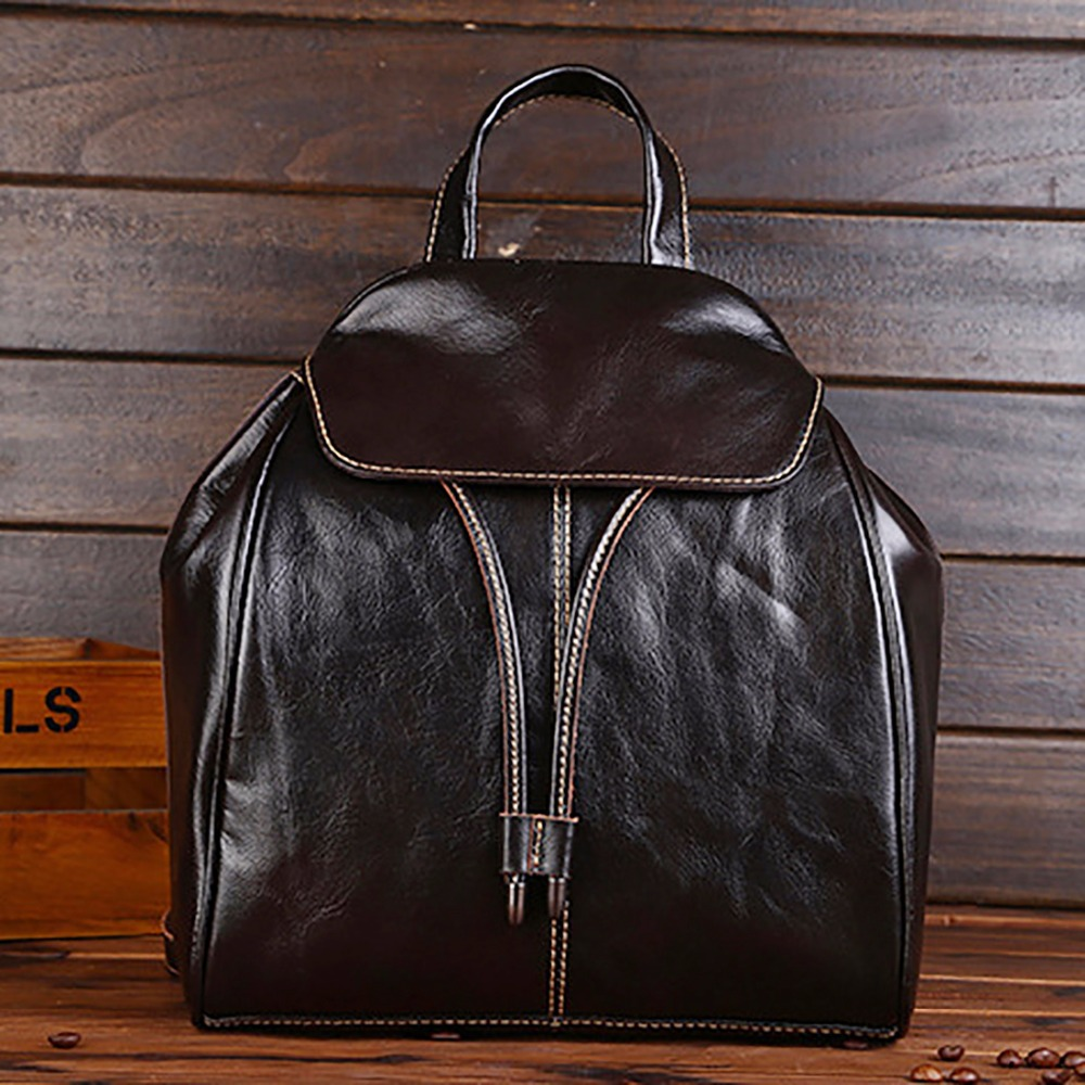 Oil Wax Cowhide Girls Rucksack Daypack Female Famous Brand Travel Book Bag Vintage School Bags Genuine Leather Women Backpack